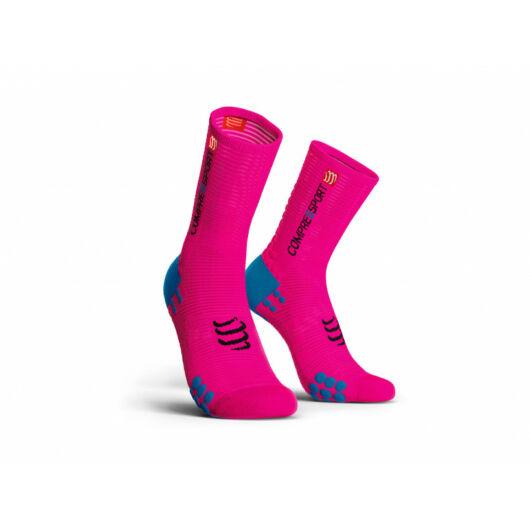 Compressport Pro Racing Socks v3.0 Bike pink kerékpáros zokni T2