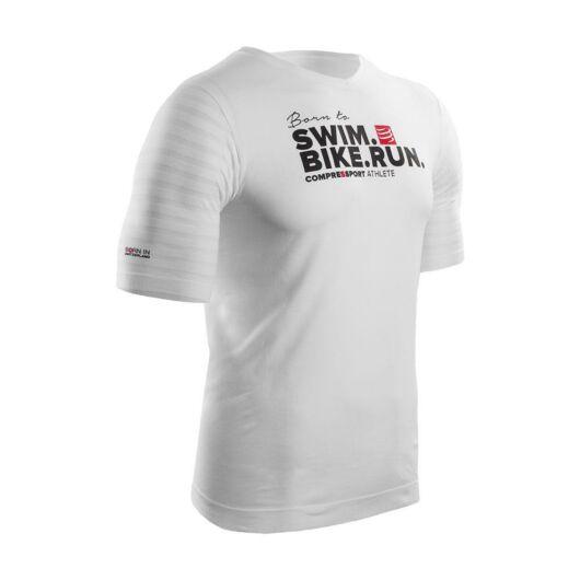 Compressport Training T-shirt Swim Bike Run fehér póló XL