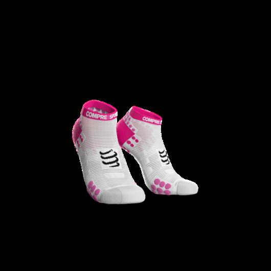 Compressport Pro Racing Socks v3.0 Run fehér-pink titokzokni T3